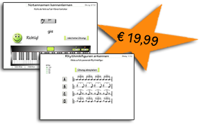 Powertraining Noten lernen mit den Übungen Noten hören und Tonhöhen vergleichen